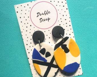 Statement Earrings- modern design polymer clay, lightweight, surgical steel backs