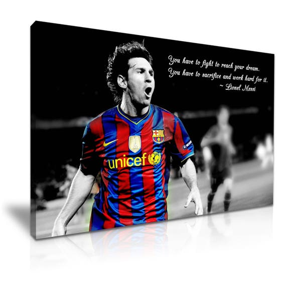 Lionel Messi Quote Icon Canvas Wall Art Picture Print 76 Cm X 50 Cm