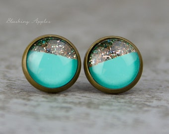 "Turquoise Gold - Dip Dye Earring studs ""Dear Audrey"", 12 mm -  hand painted earrings - minimalistic, everyday jewelry"