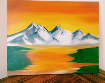 "Original Painting 16""x20"", Canvas Art, Decor Art, Oil Painting, Landscape Sea ,MountainsPainting On Canvas"