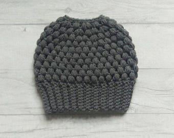 Grey messy bun beanie, messy bun hat, ponytail beanie, ponytail hat, crochet hat, beanie, dark grey hat.