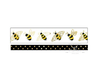 Washi Tape Set - Bees - Floral Washi Tape - Planner Accessories - Scrapbooking - Masking Tape - Decorative Tape - Planner Washi - 385143