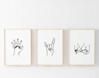 hand drawn print set tumblr room decor print set set of 3 printables