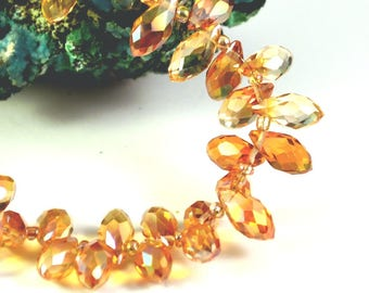 "faceted Crystal beads 10 ""drop horizontal"" 12 x 6 mm"