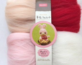 """4 Colors of Needle Felting Wool - """"Cherry"""" - Baby Peach, Red, Baby Pink, & White"""