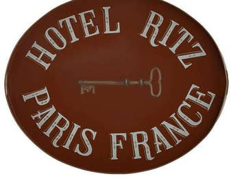 Hotel Ritz Hand Painted Tole Tray