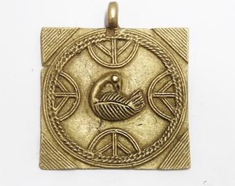 Large African Sankofa Bird Pendant, Ethnic Jewelry Supplies, Adinkra Pendant (AQ227)