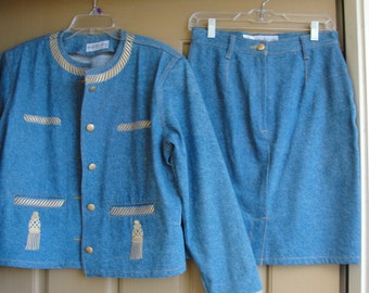 BLOOMINGDALE'S size 10  denim skirt and jacket two piece set  suit 80s 90s 1980s 1990s medium