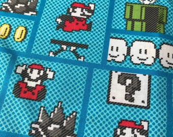 Nintendo Super Mario Brother Retro Gameboard Woven 100% Cotton Fabric - 1 yard