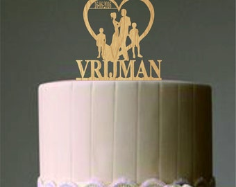 Family Wedding Cake Topper - Bride and Groom with two little boy or little girl silhouette - Unique cake topper - Rustic Wedding cake topper