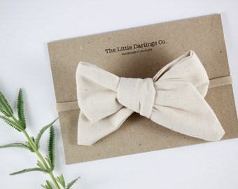 Hand Tied Hair Bow Linen Cotton Large Pinwheel in Natural // Clip or Band