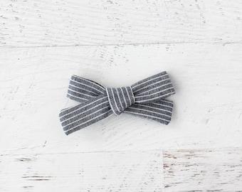 Baby Bow, Hand Tied Bow, Hair Bow, Nylon Baby Headband, Clip on Bow, Fabric Bow, Bow Headband, School Girl Bow, Stripes