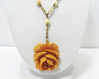 Antique Bakelite Rose Necklace / Carved Butterscotch Bakelite Rose Lavaliere / Brass Chain, Signed Germany