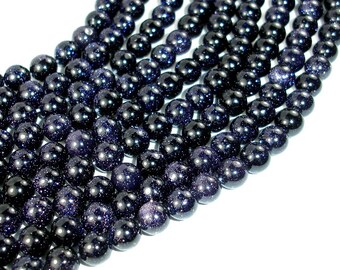 Blue Goldstone Beads, 8mm(7.8mm) Round Beads, 15 Inch, Full strand, Approx 50 beads, Hole 1 mm, A quality (164054003)