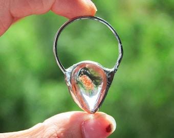Lodolite Necklace, Phantom Quartz Necklace, Ghost Quartz Point Pendant, Garden Quartz, Raw Quartz wrapped pendant, Raw crystal necklace