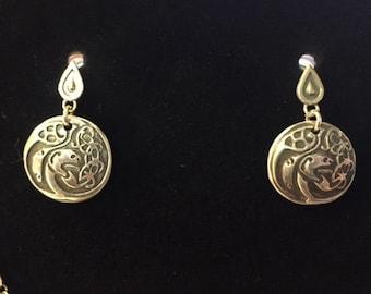 Book of Kells Earrings, fine silver.