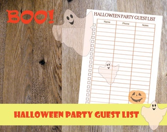 2018 Halloween planner printable, Halloween party printable, Halloween Party guest list, Halloween Printable, Letter Size, Instant Download