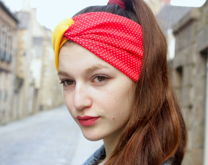 Featured listing image: Turban headband hair Retro yellow and red dots, and white Viscose Jersey
