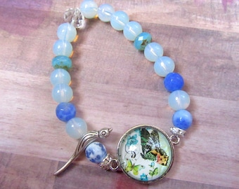 Butterfly Beaded Bracelet with Bird Bead and Opalite and Glass Beads