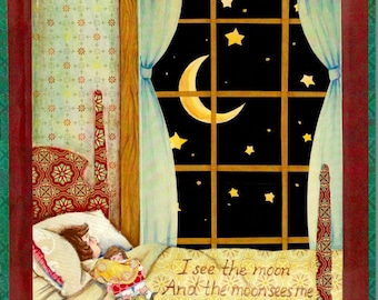 I See the Moon, collage art print