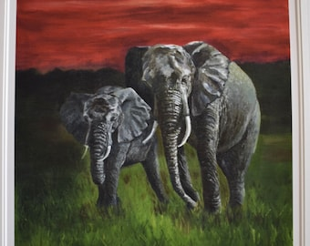 Elephants print, 2/49 oil colours
