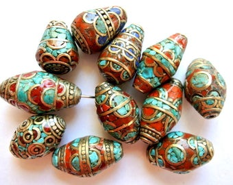 11 Beads, Nepal brass beads with coral and turquoise  shape ABOUT 26mmx14mm
