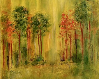 Original Painting, Abstract Art, Painting, Artwork, Nature Painting, Yellow and Green Painting, Landscape, Gift