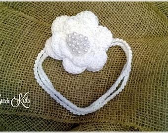 Custom Crochet Fascinator Flower Headband with Pearls Newborn-4T