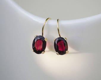 14K Gold Earrings, Red Garnet Earrings, Gold Drop Earrings, Burgundy Earrings, Oval Earrings, Garnet Earrings, January Birthstone,
