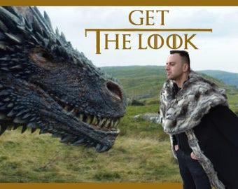 Jon Snow cape with fur/Game of Thrones coat/ Jon Snow mantle/ Viking cape/Medieval clothing