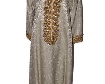 Martha O'Connor Original Cream Damask Vintage Estate Robe Kaftan Gold Sequin Thread Pearl Detail Dress