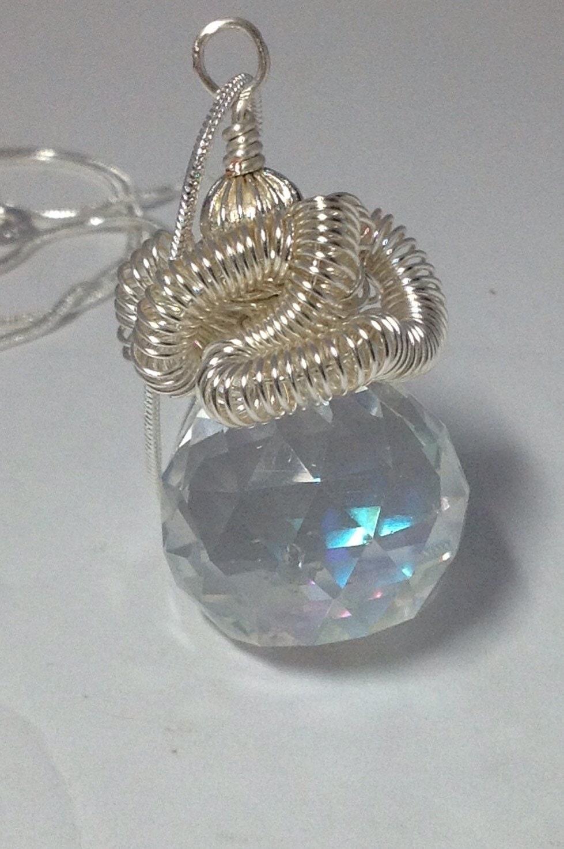 Disco Ball/Crystal Ball/Draht umwickelt Silber Spule Glas