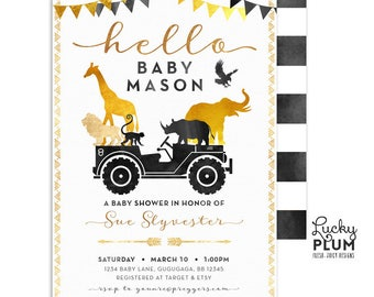 African Safari Baby Shower Invitation / Wild One Black Gold Couples Coed Baby Shower Invite / Jungle Animals Jeep Boho Chic Elephant SF03