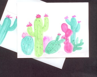Watercolored Blank Cacti Card with Envelope