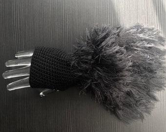 Empress Wristlets-Ebony Crochet Fingerless Gloves with Crocheted Faux Fur Fringe/Wrist Warmers/Black Gloves/Ready to Ship