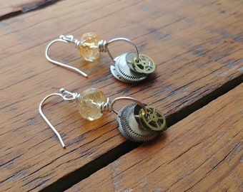 Citrine and Upcycled Watch Parts