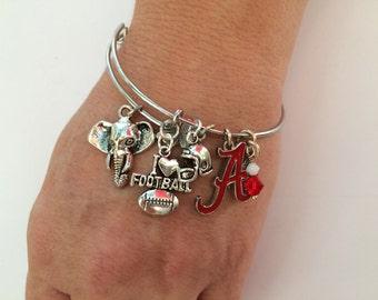 Alabama Crimson Tide Football Adjustable bangle. Crimson Tide bracelet ! Alabama Crimson Tide bracelet. Womens football gift .Gift for her .