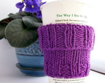 "Coffee Cup Cozy Sleeve  Handknit  Cotton Purple Amethyst Mug Cozy fits a ""Short"" or ""Grande""  Coffee Office Gift"