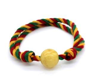 Beaded amber bracelet/ adjustable bracelet for teens/ sliding bracelet