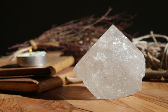 Clear Quartz Crystal Point 15 oz, Grade A Clear Quartz, Polished Standing Clear Quartz Point, Healing Crystal, Polished Clear Crystal Point