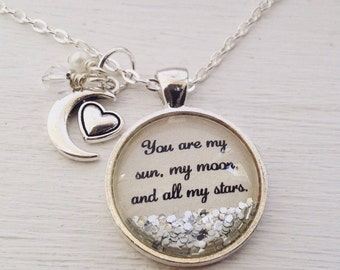 Love quote necklace, love necklace, Valentine's Day gift, anniversary gift, love gift, moon necklace, heart necklace, sparkle necklace