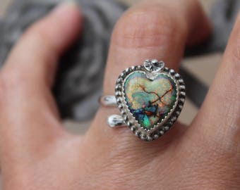 Opal Sterling Ring, Sterling Opal Ring, Handmade Opal Sterling Ring, Handmade Sterling Opal Ring, Wrap Ring, Adjustable Sterling Ring