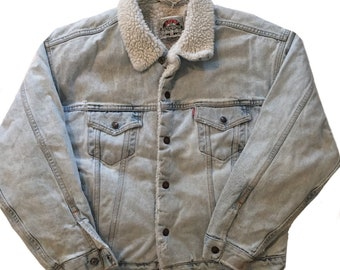 Vintage 1980s-90s Levis Sherpa Lined Denim Jacket Mens Size Large