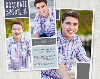 Blocks Senior Graduation  Announcement Card Template
