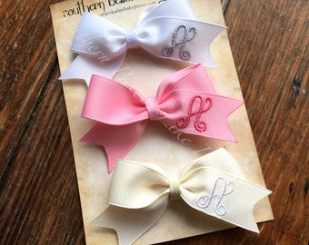 Personalized Hair Bow Clips with Initial Letter Gift Set, Hair Bow Gift for Girls, Toddler Hair Accessories, Personalized Hair Clips