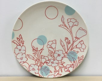 handmade porcelain dinner plate: Dot Floral Print Plate by Meredith Host, flower plate, polka dot, wheel thrown, aqua, red flowers