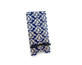 damask office accessories. Cell Phone Holder, Blue Damask, Smart Stand For Desk, Charging Station, Damask Office Accessories