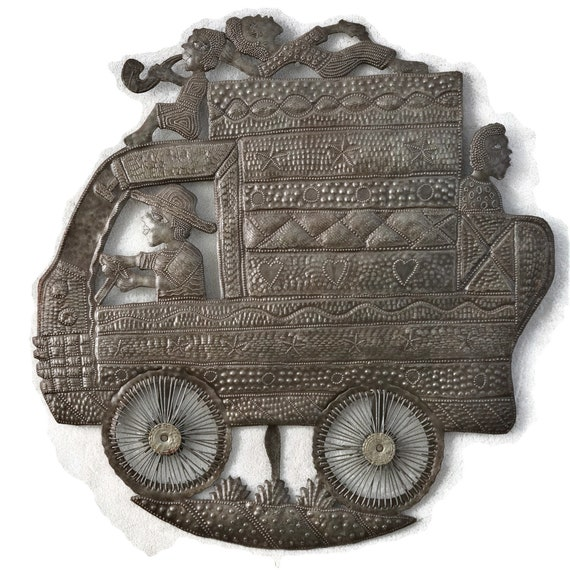 Tap Tap Bus w/ Passengers, Steel Drum Sculpture, Handmade In Haiti From Recycled Oil Drums, One-of-a-Kind, 23x24