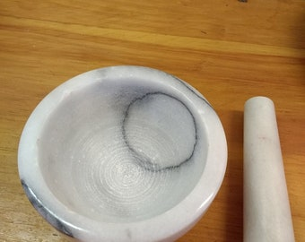 """Marble Mortar and Pestle 4 1/2"""" across"""