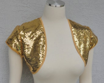 Bridal Wedding Party Silver or Gold Sequin Bolero Shrug Made to Order New Year
